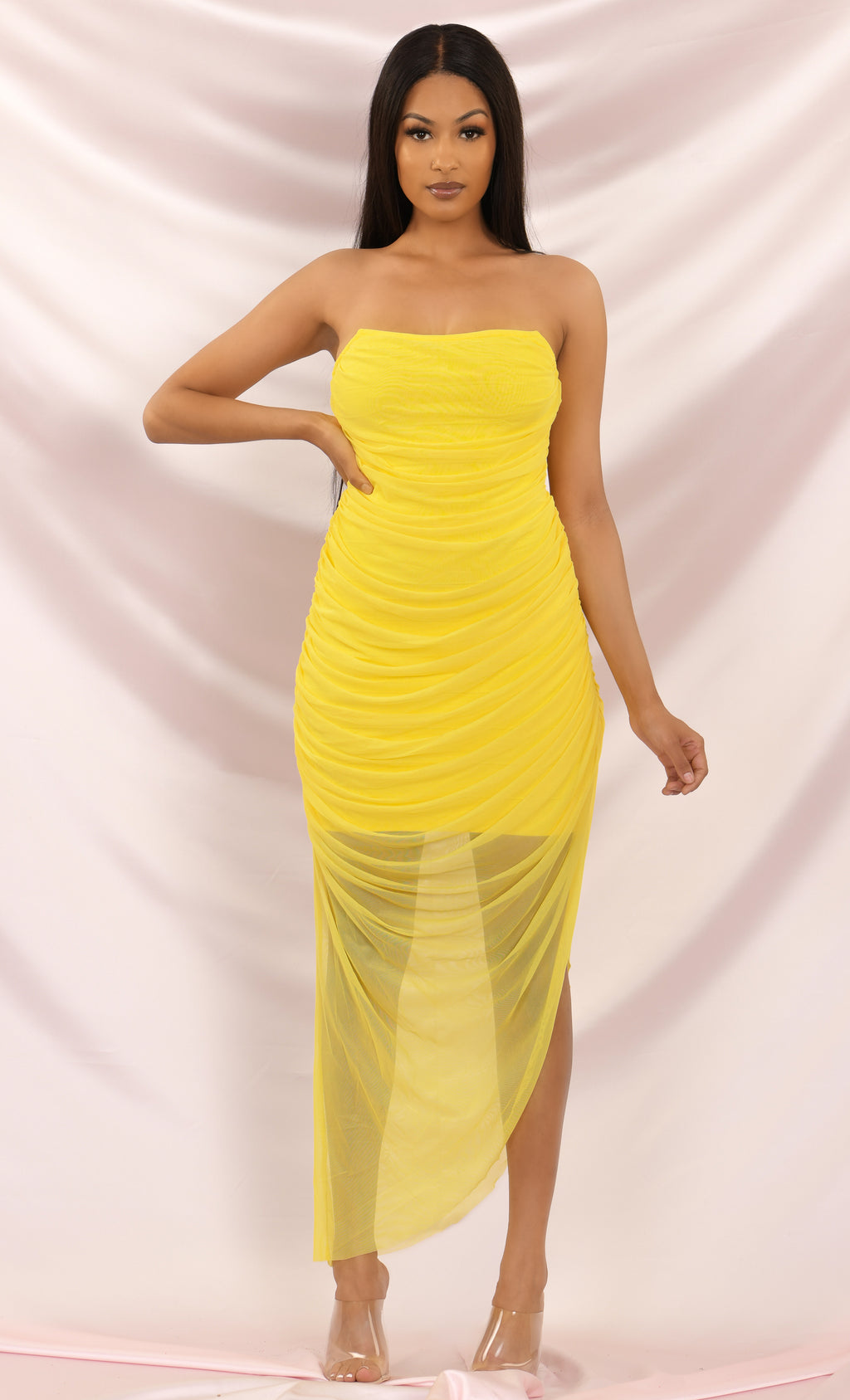 You're Extraordinary Mesh Bandage Draped Neck Bright Yellow Strapless Ruched Side Slit Asymmetric Bodycon Maxi Dress