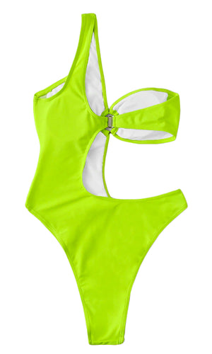 In Deep Trouble One Shoulder Cut Out Side O Ring Monokini Swimsuit - 2 Colors Available - Sold Out