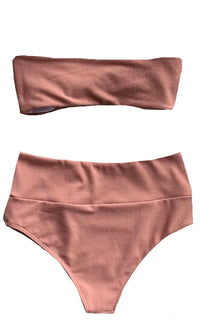 Beachy Glow Mauve Ribbed Strapless Bandeau Twist Knot High Waist Two Piece Bikini Swimsuit - Sold Out