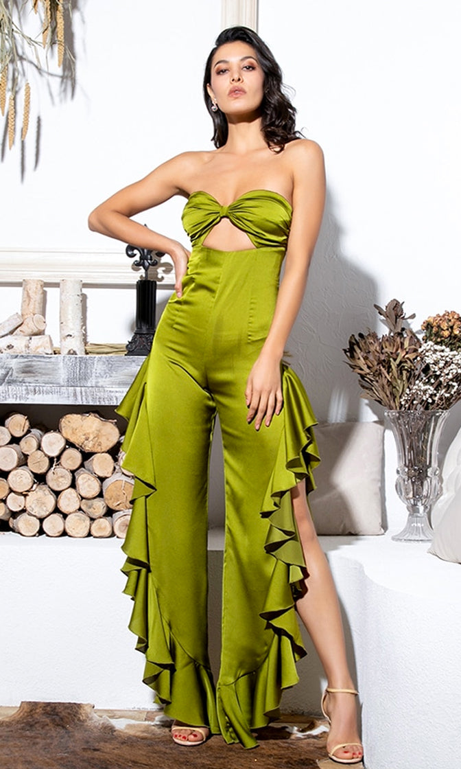 Rhythm Of The Night Green Strapless Sweetheart Cut Out Side Slit Wide Leg Ruffle Jumpsuit