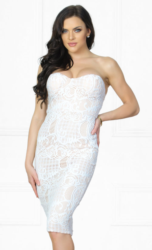 Indie XO Good Girl White Lace Strapless Sweetheart Neck Bodycon Midi Dress
