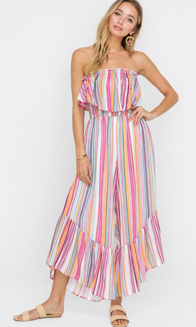 Candy Kiss Pink Multicolor Vertical Stripe Pattern Strapless Ruffle Wide Leg Loose Jumpsuit (Pre-order)