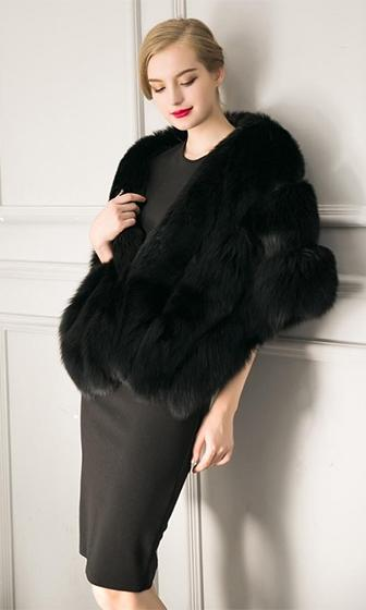 Freeze Frame Black Faux Fur Shawl with Closure Wrap
