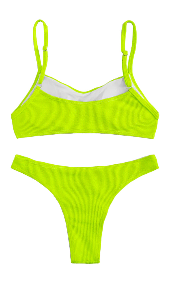 Faster Than Fire Ribbed Spaghetti Strap Scoop Neck Crop Top Brazilian Two Piece Bikini Swimsuit - 3 Colors Available
