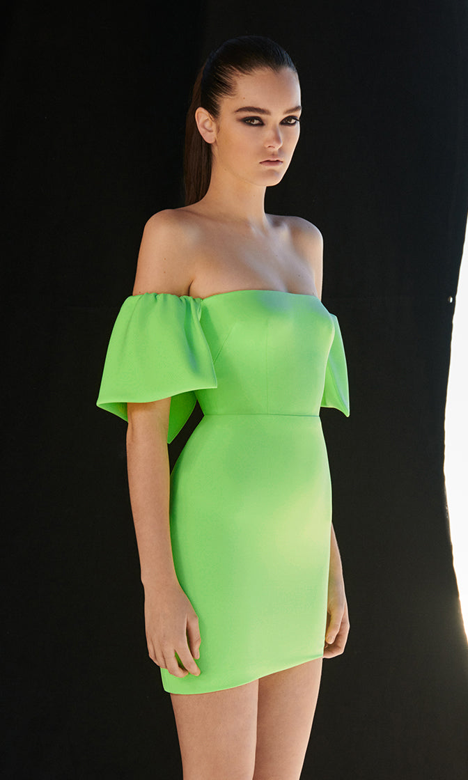 It's All Good Green Short Sleeve Off The Shoulder Asymmetric Hem Bodycon Bandage Mini Dress