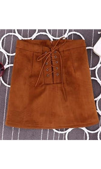 My Hands Are Tied Brown Faux Suede Lace Up A Line Mini Skirt - Sold Out