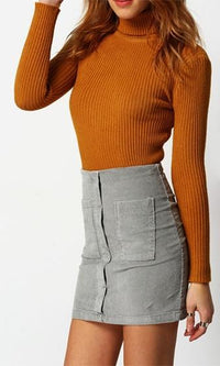 Ready To Roll Brown Long Sleeve Turtleneck Rib Knit Pullover Sweater - Sold Out