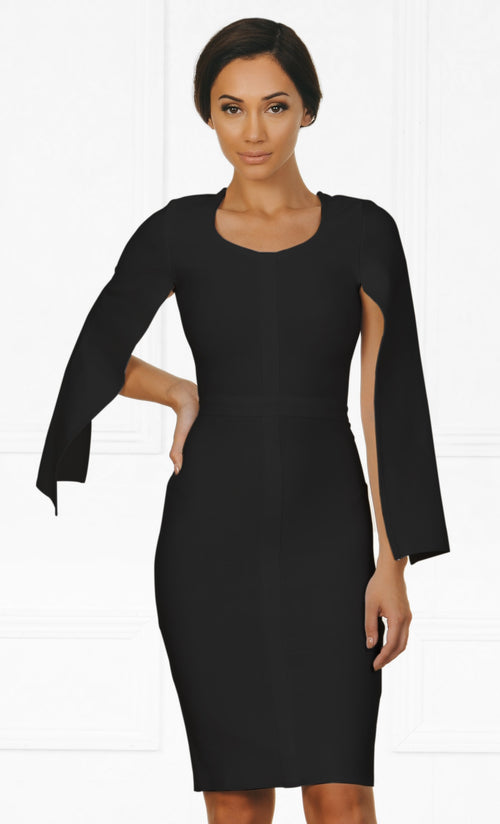 Indie XO Midnight Scandal Black Long Slit Sleeve Scoop Neck Bandage Bodycon Cape Midi Dress
