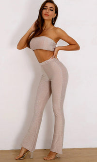 Secret Code Nude Glitter Strapless Lurex Bandeau Crop Top High Waist Flare Leg Loose Two Piece Jumpsuit - Sold Out