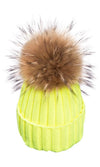 Big Chill Removable Fur Pompom Rib Cuff Beanie Hat - 4 Colors Available