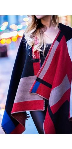 London Calling Red Black Beige Blue Plaid Color Block Oversized Loose Cape Coat Scarf