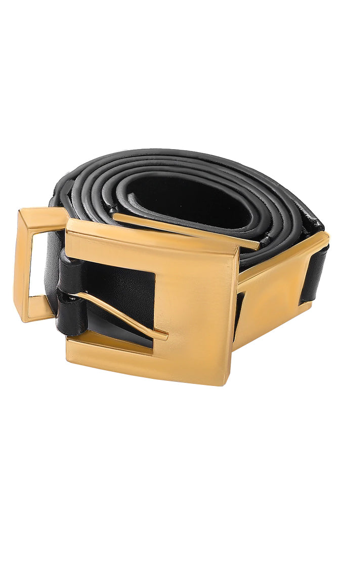 Metallic Dream Black Faux Leather Gold Buckle Belt