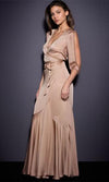 Twisted Love Beige Elbow Slit Sleeve Cross Wrap V Neck Thigh Slit Maxi Dress - Sold Out