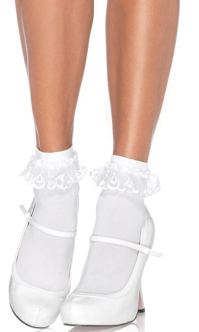 Goody Two Shoes Nylon Lace Ruffle Anklets Socks - 2 Colors Available