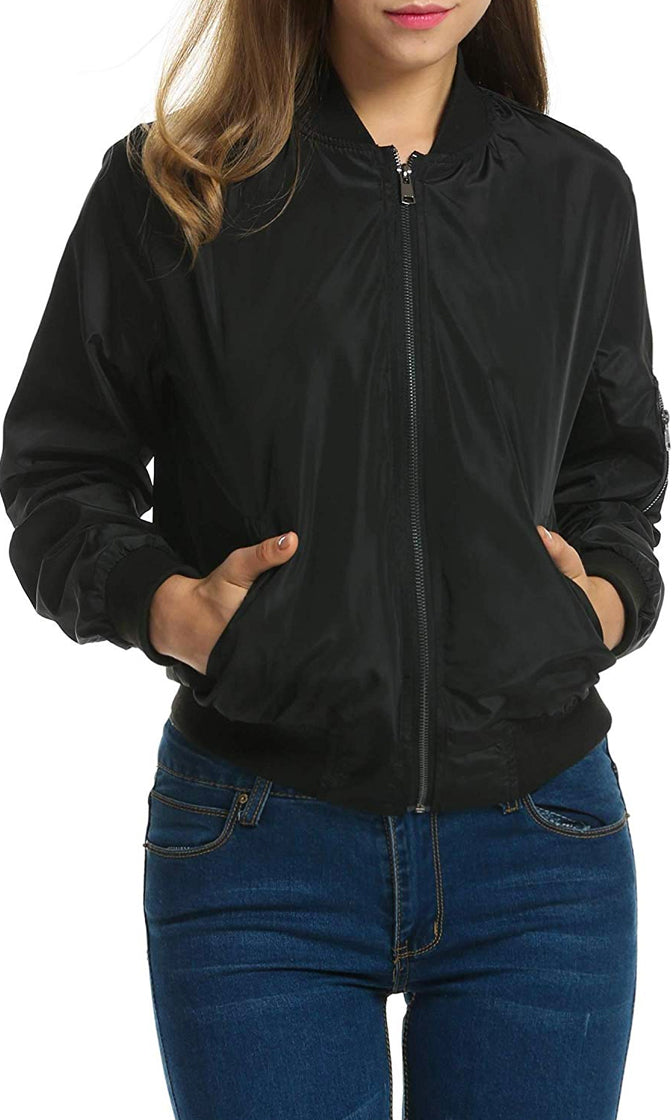 She's the Bomb Black Long Sleeve Zip Front Orange Lining Bomber Jacket Banded Puffy Outerwear