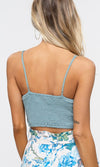 Danger Ahead Sleeveless Spaghetti Strap Crochet V Neck Bralette Crop Tank Top - Sold Out