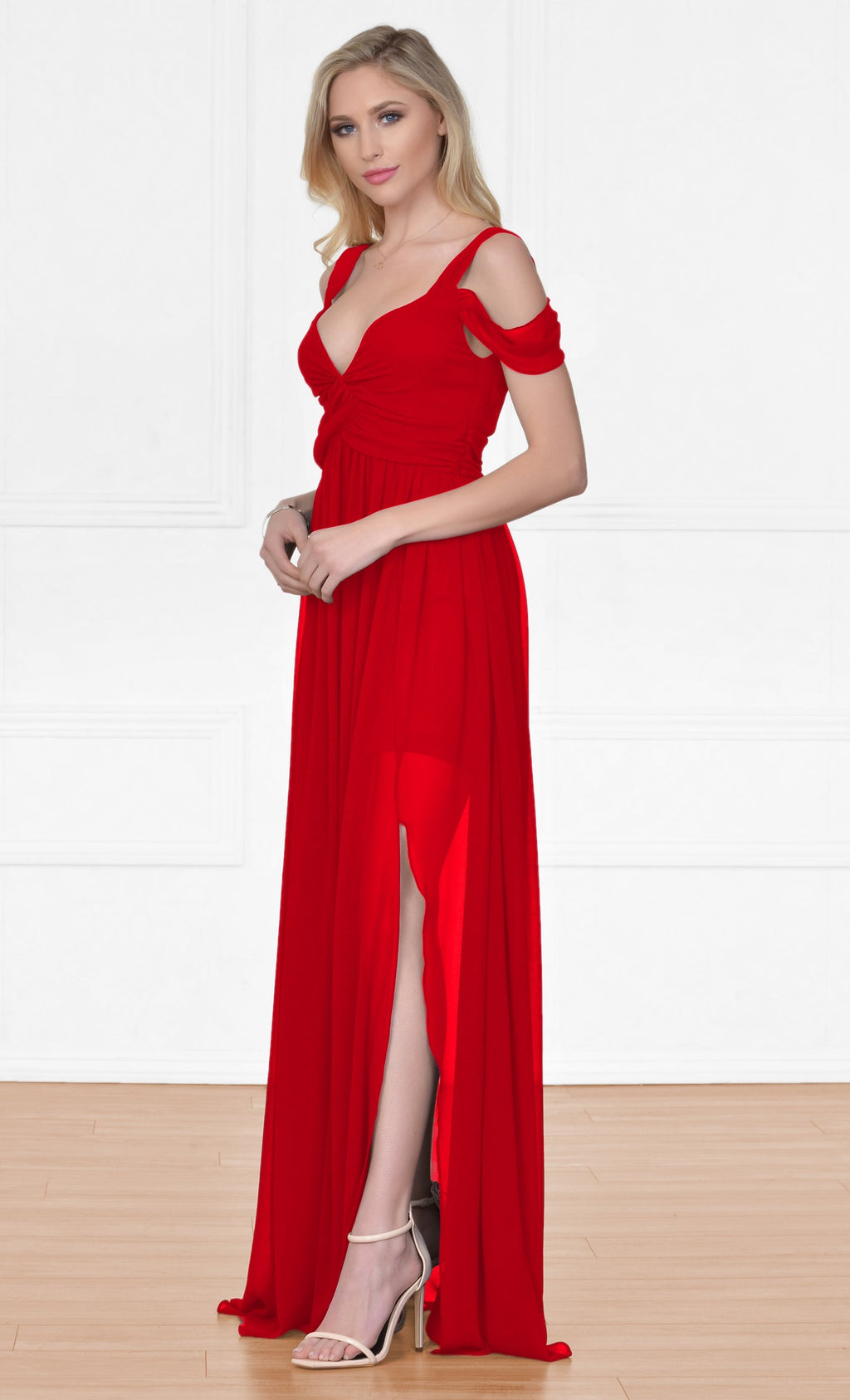 9848895463 Indie XO Once Upon a Time Red Sleeveless Off The Shoulder V Neck Long Side  Slit