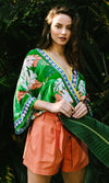 Summer Sensation Green Coral Leaf Floral Pattern 3/4 Kimono Sleeves Cross Wrap V Neck Blouse Top