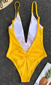 Lifeguard Distraction White Spaghetti Strap Plunge V Neck Backless Brazilian One Piece Monokini Swimsuit