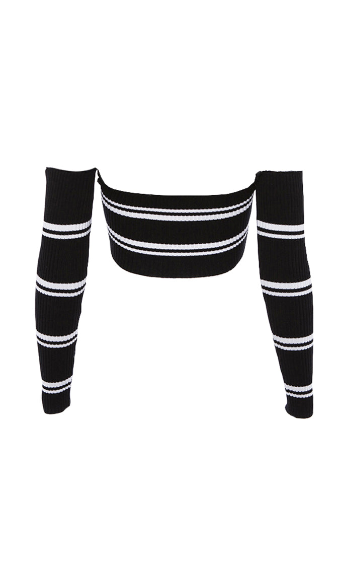 Stripe Club Horizontal Stripe Pattern Long Sleeve Ribbed Off The Shoulder Tie Front Bandeau Sweater Top - 3 Colors Available