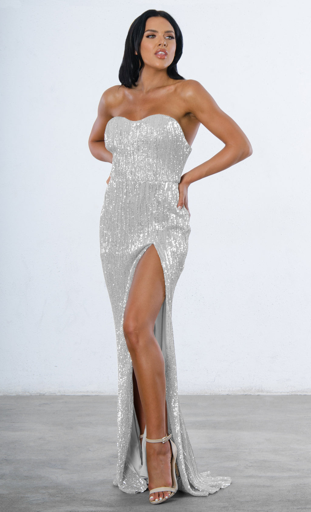 Indie XO Show Me Some Love Silver Sequin Strapless Sweetheart Neck High Slit Fishtail Maxi Dress - 3 Colors Available