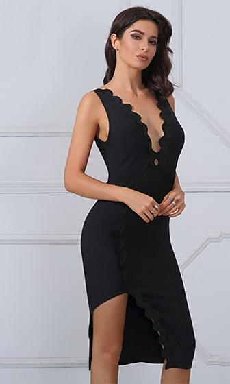 Lights, Camera Black Sleeveless Scallop Plunge V Neck High Slit Bodycon Bandage Midi Dress