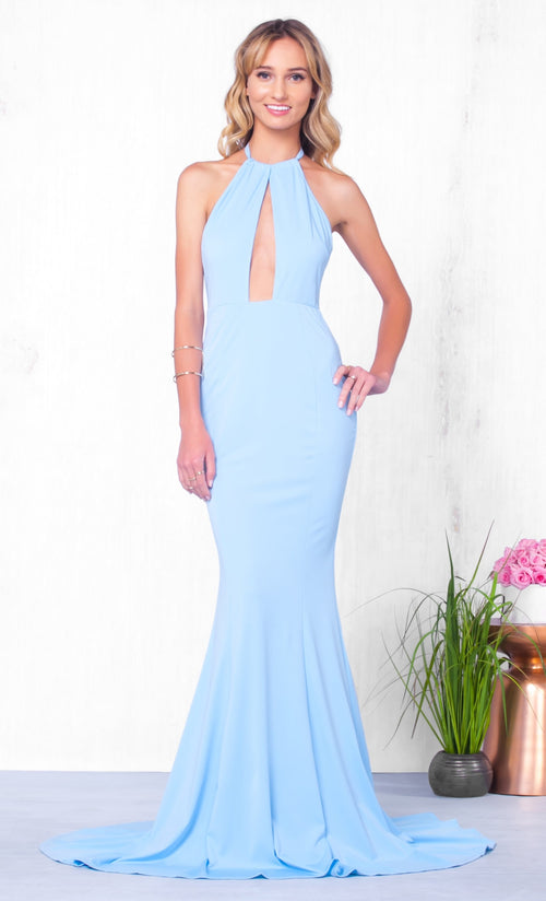 Indie XO Dream on Dreamer Light Blue Sleeveless Cut Out Halter Mermaid Maxi Dress Gown