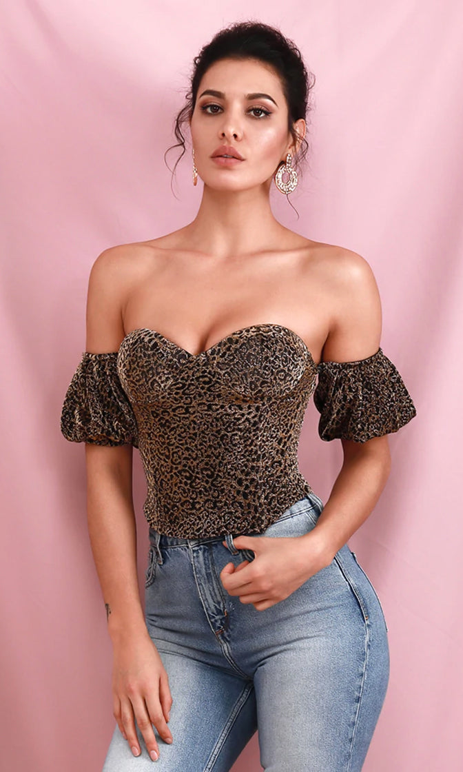 After The Show Black Gold Leopard Print Animal Pattern Short Sleeve Off The Shoulder Sweetheart Neck Bustier Top