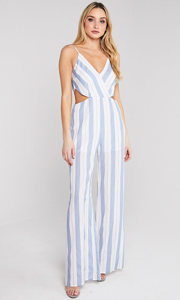 db7e4dd41cb3 Sea Cruise Vertical Stripe Pattern Sleeveless Spaghetti Strap V Neck  Backless Cut Out Sides Loose Wide