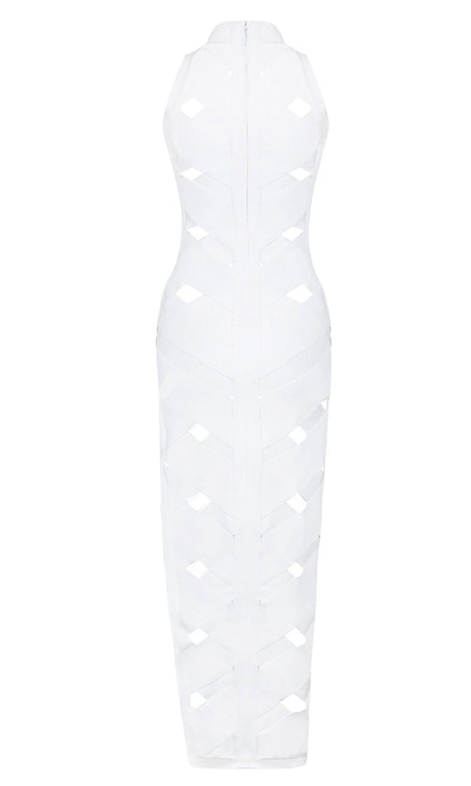 Check Please White Cut Out Sleeveless Mock Neck Bodycon Bandage Maxi Dress