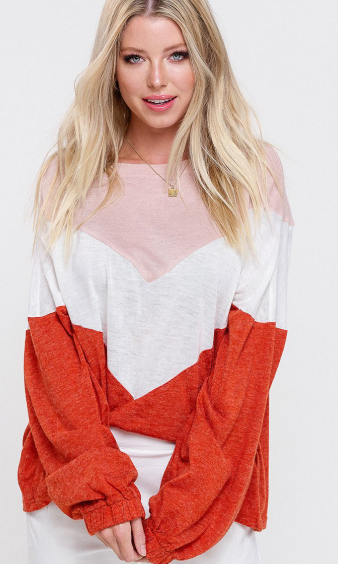 Color Me Happy Colorblock Long Dolman Sleeve Round Neck Pullover Top - 3 Colors Available (Pre-order)