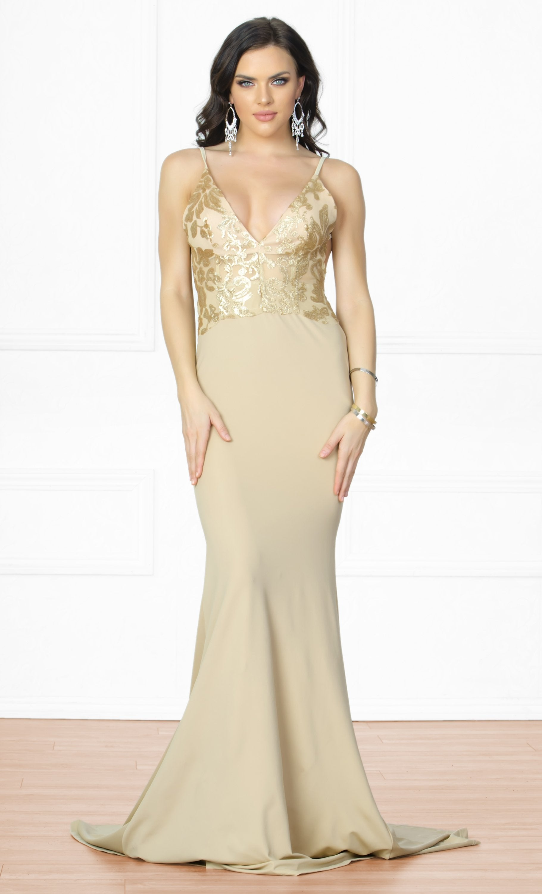 Indie XO Always Amazing Nude Gold Metallic Lace Spaghetti Strap Plunge V Neck Backless Ruched Maxi Dress Gown