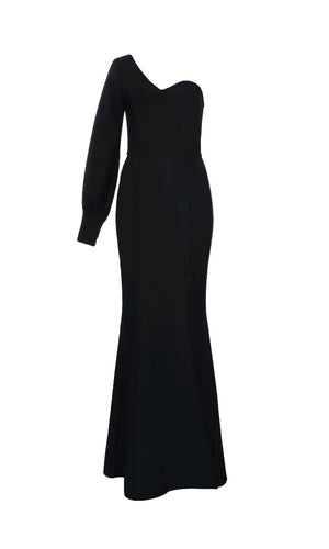 Fancy This Black One Long Lantern Sleeve Sweetheart Neck High Slit Bandage Mermaid Maxi Dress