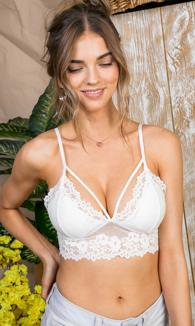 One For My Baby White Sheer Mesh Lace Sleeveless Spaghetti Strap V Neck Cut Out Bralette Lingerie Crop Top - Sold Out