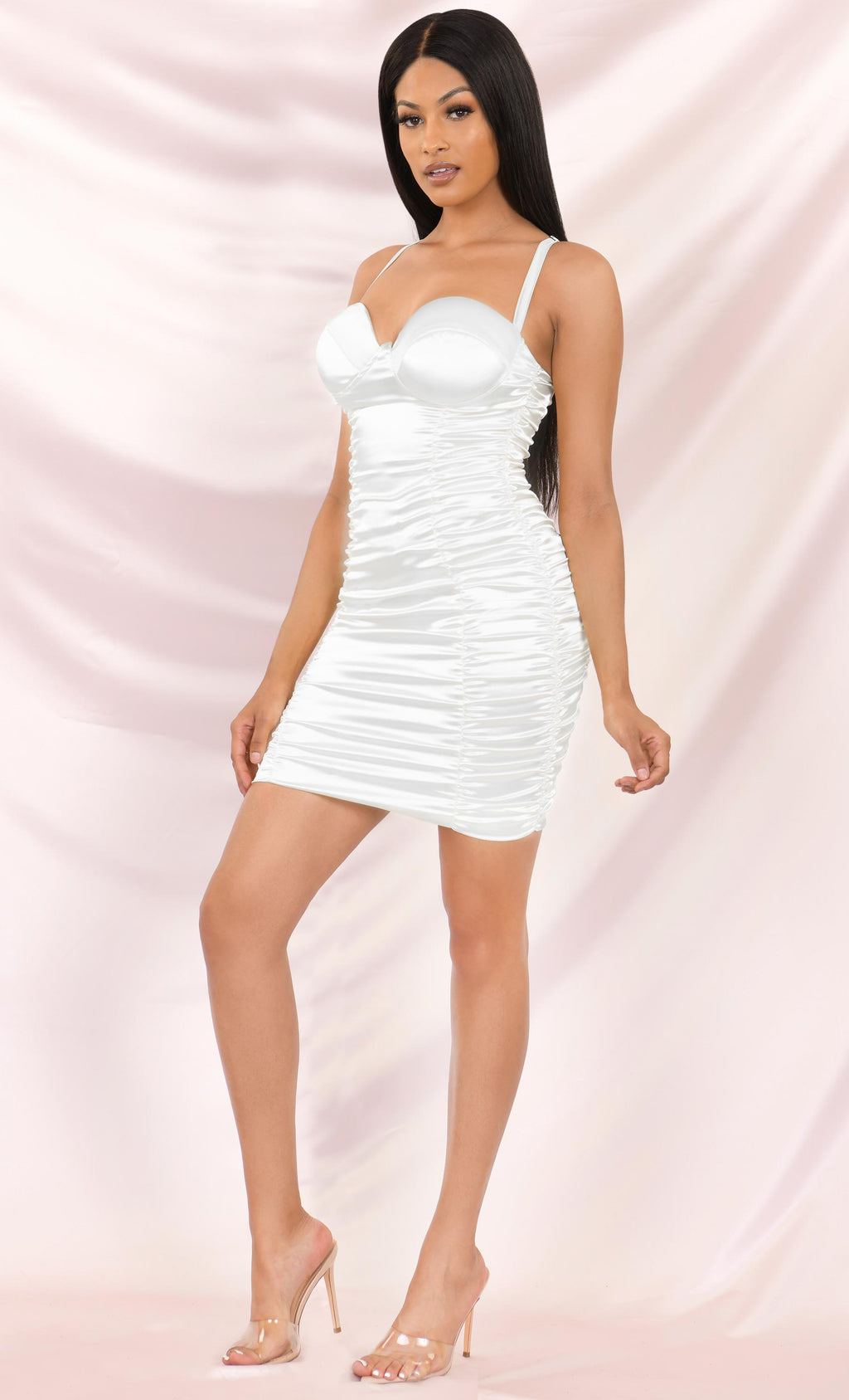 IG Stunna White Satin Bustier Sleeveless Spaghetti Strap Sweetheart Neckline Ruched Bodycon Midi Dress - 2 Colors Available