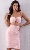 Collecting Hearts Sleeveless Spaghetti Strap Ruched Crop Top Bodycon Two Piece Midi Dress - Sold Out
