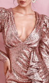 Ritzy Glitz Rose Gold Sequin Long Sleeve Puff Shoulder Plunge V Neck Ruffle Bodycon Mini Dress