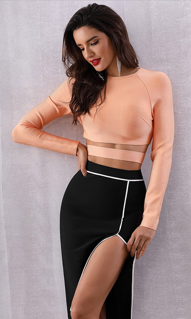 Pumpkin Spice Orange Long Sleeve Crew Neck Cut Out Bandage Crop Top