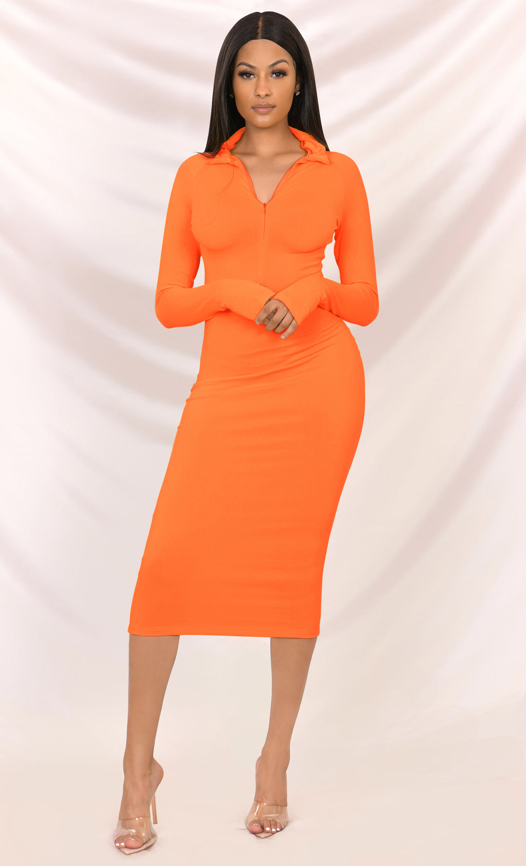 Press To Play Orange Long Sleeve Mock Neck Zip Front Bodycon Midi Dress - 3 Colors Available
