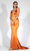 Making It Memorable Orange Gold Satin Sleeveless Spaghetti Strap Plunge V Neck Backless Ruched Mermaid Maxi Dress