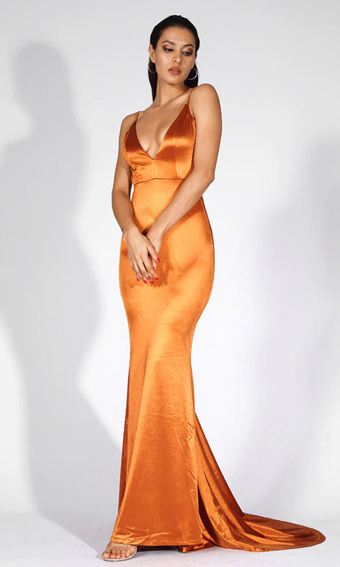 Making It Memorable Gold Satin Sleeveless Spaghetti Strap Plunge V Neck Backless Ruched Mermaid Maxi Dress