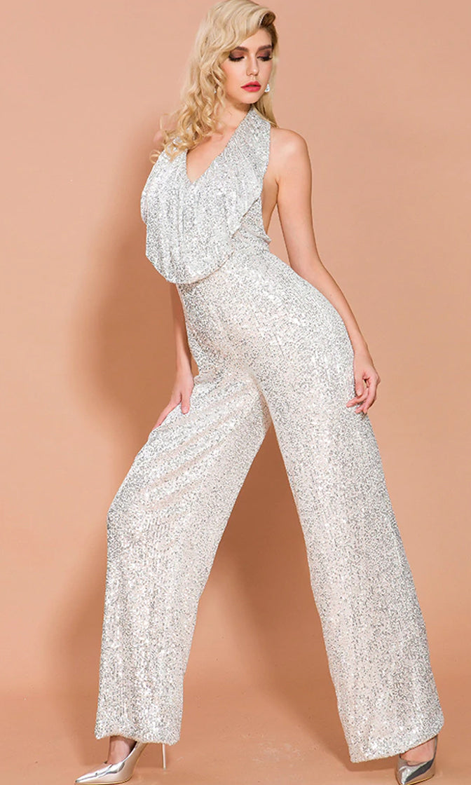 Put A Ring On It Silver Sequin Sleeveless Halter V Neck Ruffle Backless Wide Leg Loose Jumpsuit