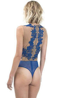 Ring My Bell Blue Nude Sleeveless Scoop Neck Sheer Mesh Lace Bodysuit -  Sold Out