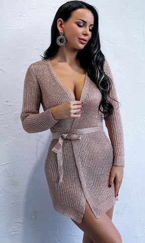 Holding Tight Rose Gold Metallic Long Sleeve Wrap Cardigan Sweater Knit Cross V Neck Wrap Casual Midi Dress