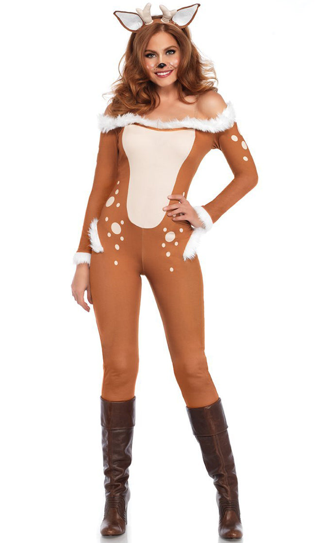 Doe A Deer Brown White Long Sleeve Faux Fur Off The Shoulder Bodycon Jumpsuit Halloween Costume