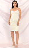 Sweet Escape Cream Ruched Stretch Spaghetti Strap Round V Neck Pastel Lace Up Back Bodycon Midi Dress