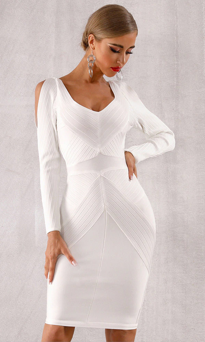 Night To Remember White Long Sleeve Cut Out Shoulder V Neck Bodycon Bandage Midi Dress