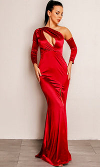 Reaching The Limit Wine Red Satin Long Sleeve One Shoulder Asymmetric Keyhole Front Slit Maxi Dress - Sold Out