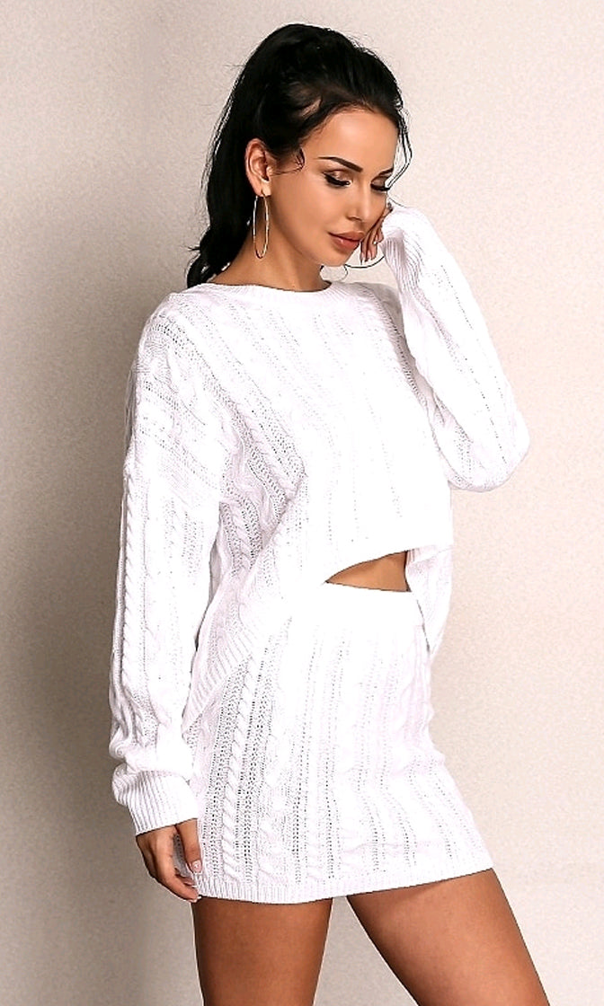 Straight Up White Long Sleeve Cable Crew Neck High Low Pullover Sweater Two Piece Casual Mini Dress