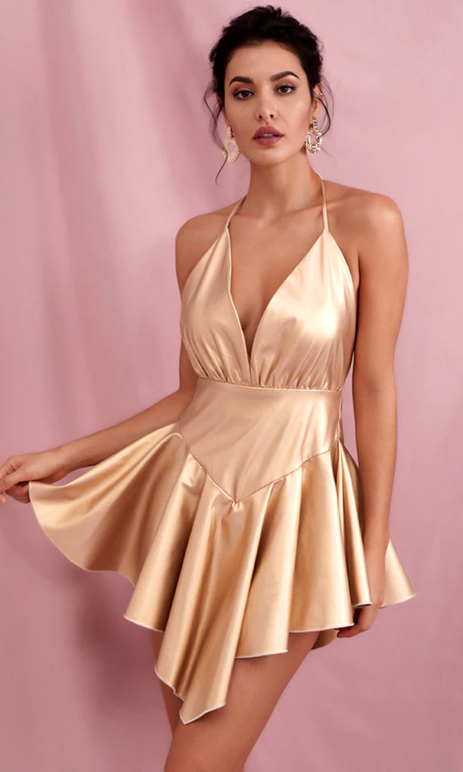 Flashing Forward Gold PU Sleeveless Spaghetti Strap Backless Plunge V Neck Halter Drop Waist Asymmetric Flare Mini Dress